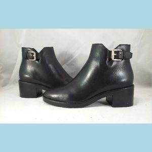 Cole Haan Harrington Buckle Black Leather Bootie